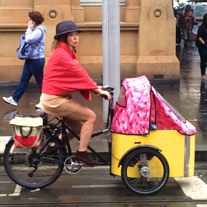 #sydneystorms velaporter cycling in heels cycling with kids cycling in a skirt cycling with style