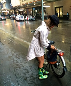 Lululemon rain coat.  Yakkay helmet with rain cover. Gumboots.