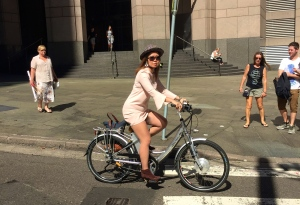 veloaporter cycling in a dress cycling in heels cycling in a skirt cycling with style